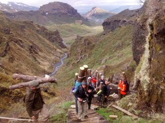 Moving timber onto the Fimmvörðuháls trail.