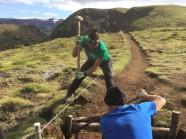 Repairing timber drains on the Fimmvörðuháls trail (Nadia Ward)