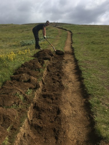 Trail widening to increase carrying capacity on the Fimmvörðuháls trail (Naomie Winch)