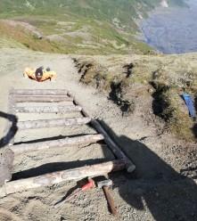 Checking the levels on newly built 'ladder' steps (Tobi Krumm)
