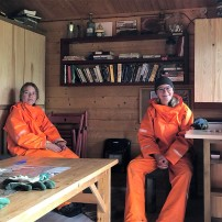 Hiding from the rain at our Langidalur hut (Nicolas Talou)